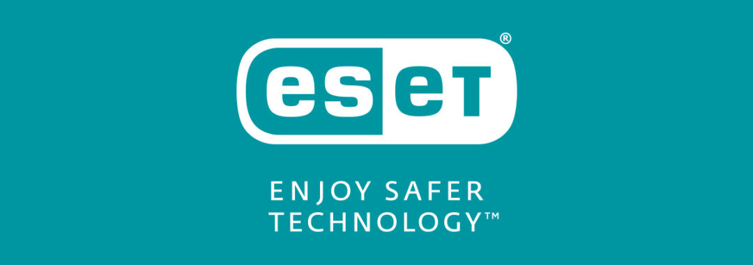 "Logo ESET ""Enjoy safer technology"" sobre fondo aguamarina"