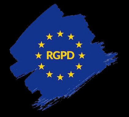 Siglas del RGPD sobre bandera de la Unión Europea